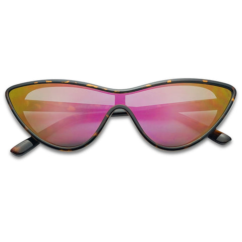 FUTURISTIC CAT EYE SHIELD COLOR MIRRORED SUNGLASSES