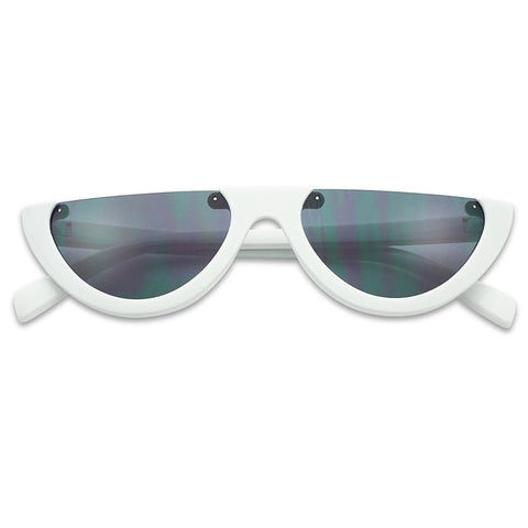 SUPER RETRO CAT EYE HALF MOON SUNGLASSES