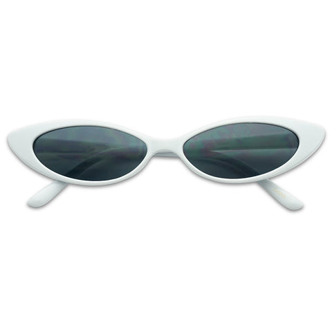 90'S INSPIRED MINI OVAL FLAT LENS CAT EYE SUNGLASSES
