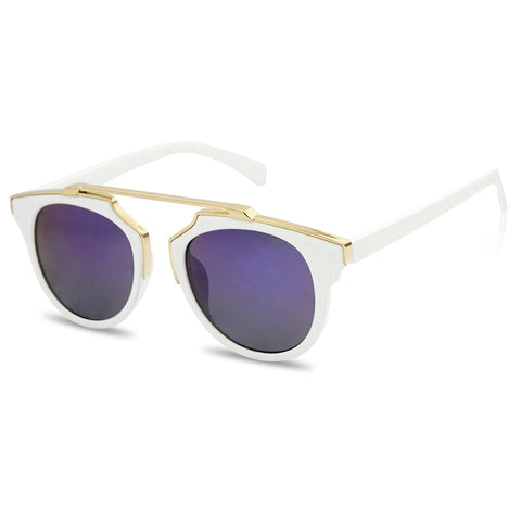 WHITE GEOMETRIC BROWLINE SUPER CHIC SUNGLASSES