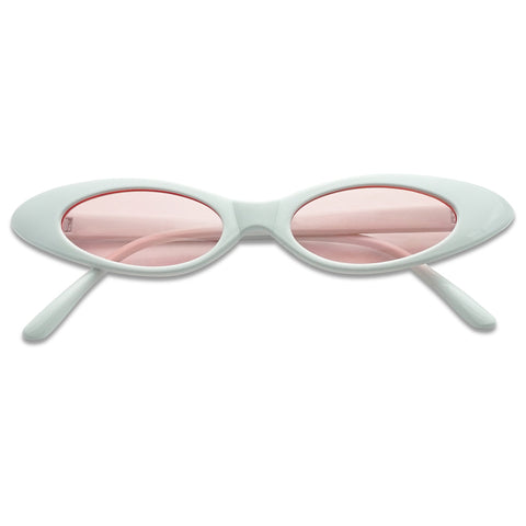RETRO MINI SLIM COLOR TINT OVAL CATEYE SUNGLASSES