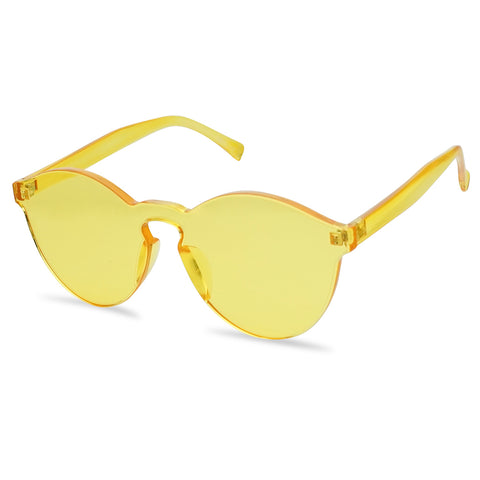 COLORFUL ROUND MONOBLOCK RIMLESS SUNGLASSES