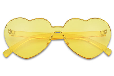 Large Retro Vintage Yellow Single Lens Monoblock High Fashion Bold No Rim Cute Hot Heart Shades Glasses