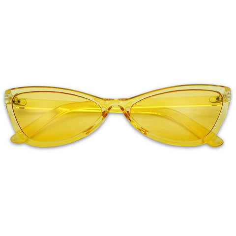 NARROW ROUND CRYSTAL BOW-TIE CATEYE SUNGLASSES