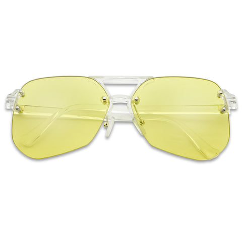 RIMLESS GEOMETRIC FLAT AVIATOR SUNGLASSES