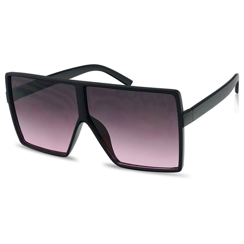 OVERSIZED SQUARE FLAT TOP TWO-TONE SUNGLASSES