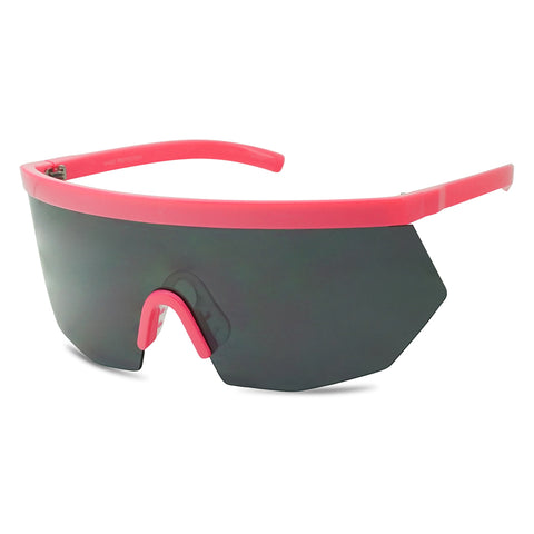 DARK TINTED NEON OVERSIZED FLAT TOP GEOMETRIC SHIELD SUNGLASSES