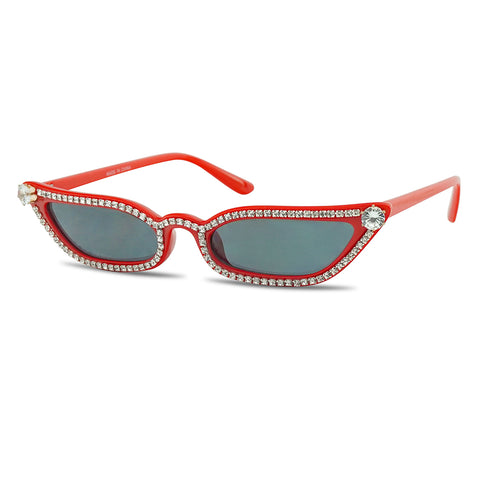 DIAMOND STUDDED HIGH POINTY RECTANGULAR CAT EYE GLAM SUNGLASSES