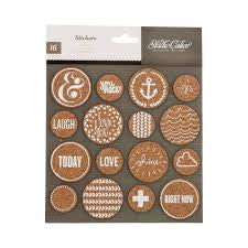 American Crafts Studio Calico Cork Circles Stickers Brown