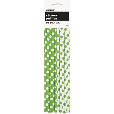 Paper Straws, Lime Green Decorative Dots CLEARANCE