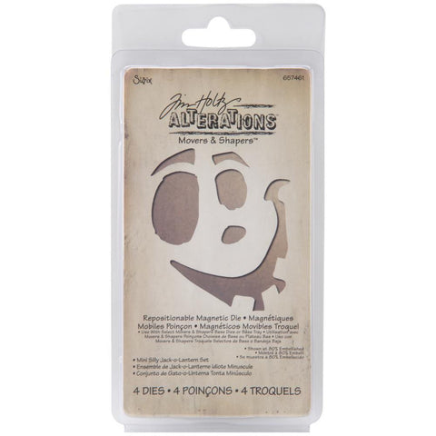 Mini, Silly, Jack-O-Lantern, Sizzix ,Movers & Shapers, Magnetic, Dies, By Tim Holtz 4/Pkg