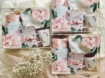 Bridesmaid Floral Caligraphy Giftbox with label (3-8)