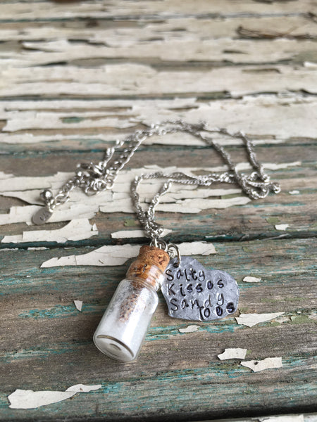 "Metal Stamped ""Salty Kisses Sandy Toes"" Necklace"