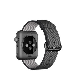 Apple Watch Sport 38mm Space Grey Aluminum Case Woven Nylon Band MMF62 (Black)
