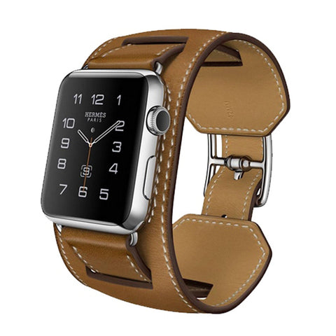 Apple Watch Hermes Manchette 42mm Fauve Barenia Leather Band MLCE2 (Brown)