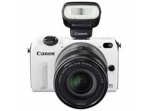 Canon EOS M2 with 18-55mm, 55-200mm and 90EX White Digital SLR Camera