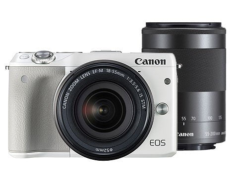 Canon EOS M3 with 18-55mm and 55-200mm White Digital SLR Camera