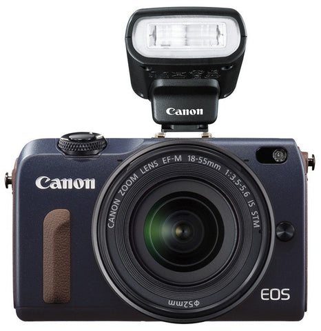 Canon EOS M2 with 18-55mm, 55-200mm and 90EX Flash Blue Digital SLR Camera