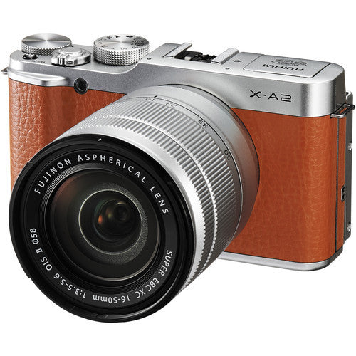 Fuji Film X-A2 with 16-50mm and 50-230mm Brown Mirrorless Digital Camera
