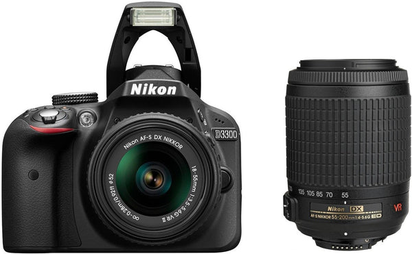 Nikon D3300 Kit with 18-55mm VR II and 55-200mm Lenses Black Digital SLR Camera