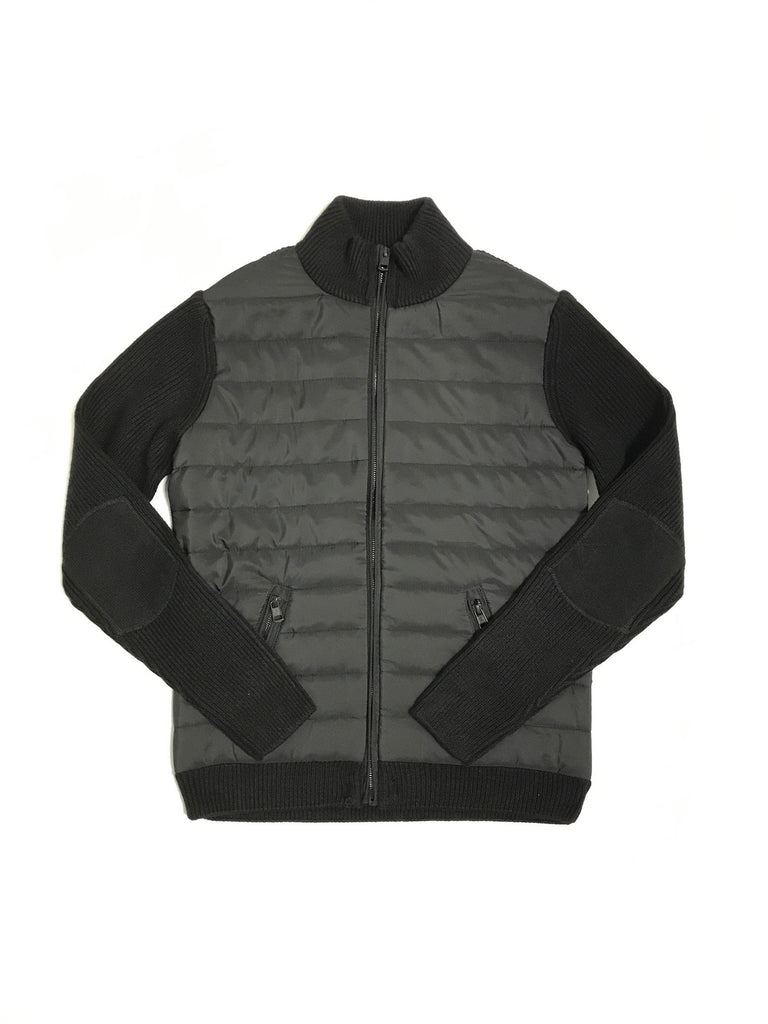 """Tristan"" Quilted Panel Knit Jacket"