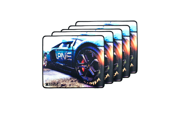 TEXET Premium Gaming Mousepad (33 cm x 28 cm) - Racing Series | Pack Of 5 | Anti-Slip rubber base | Precise Friction Technology - TEXET