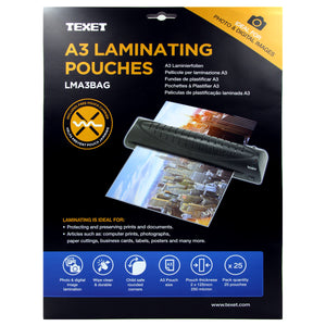 TEXET A3 High Quality laminating pouches - Pack of 25 Pouches - TEXET