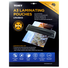 TEXET A3 High Quality laminating pouches - Pack of 25 Pouches