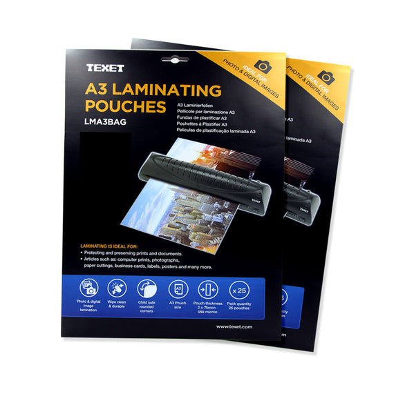 TEXET A3 High Quality laminating pouches - Pack of 50 pouches - TEXET