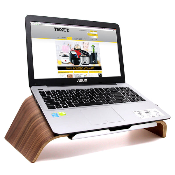 TEXET LPST-001W Wooden Tilt Laptop Stand (Black Walnut) - TEXET