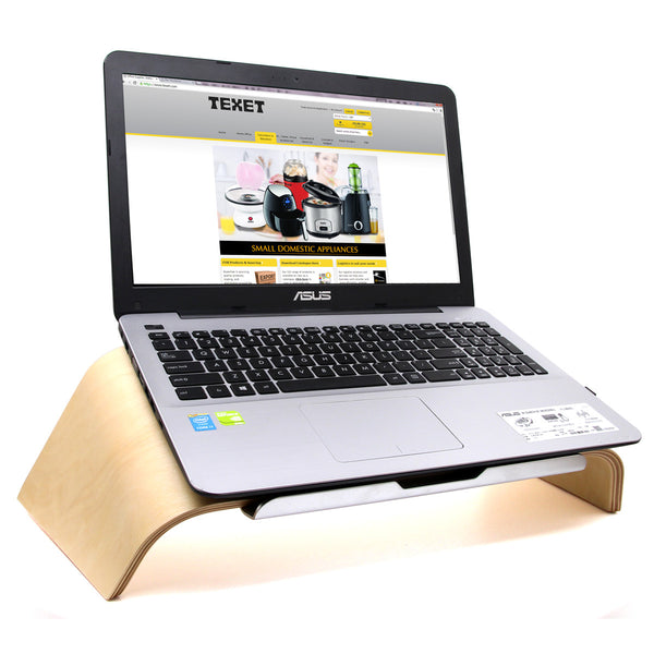 TEXET LPST-001B Wooden Tilt Laptop Stand (White Birch) - TEXET