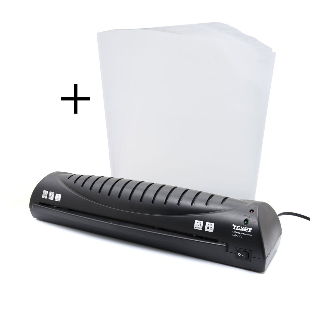 TEXET A3 / A4 Hot Laminator for Home & Office + Texet A3 pack of 25 laminating pouches - TEXET