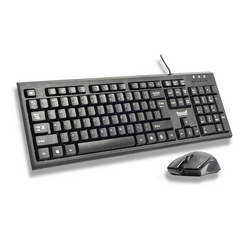 TEXET Wired Keyboard Mouse Combo | Ultra Slim Keyboard | Fade Proof UV Keycaps | Plug and Play | Waterproof - TEXET
