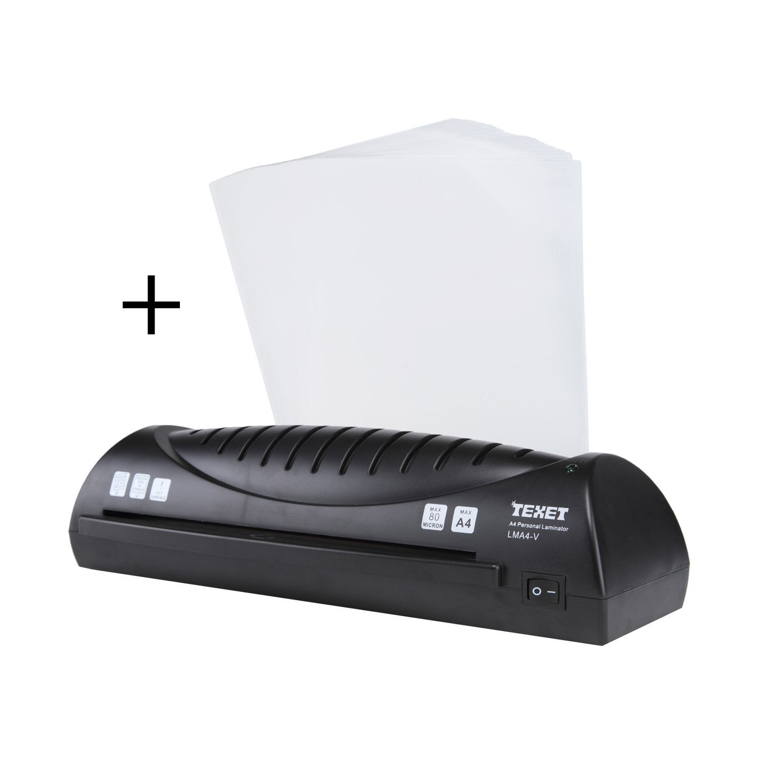 Texet A4 Lamination machine - Ideal for Photos ID, I-Card + Texet A4 pack of 25 laminating pouches - TEXET