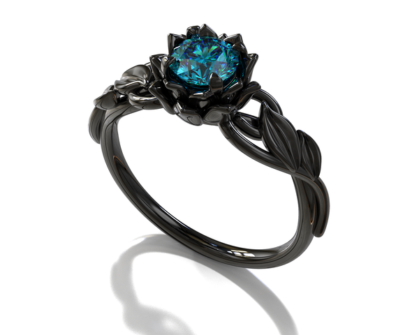 Blue Diamond Black Lotus Flower Engagement Ring