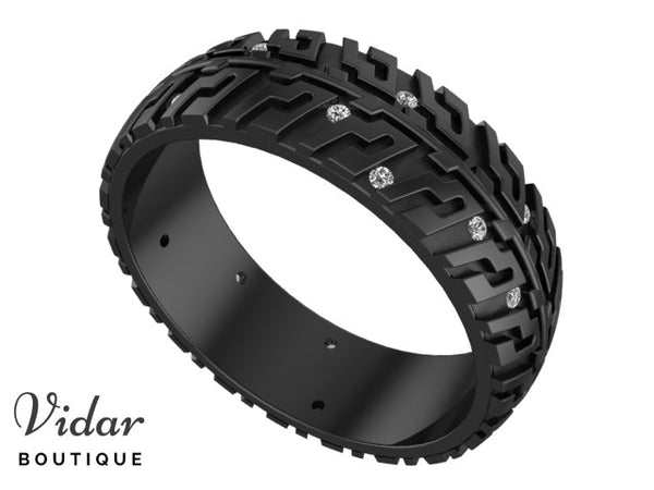 Black Gold Tire Mens Wedding Band With Diamonds