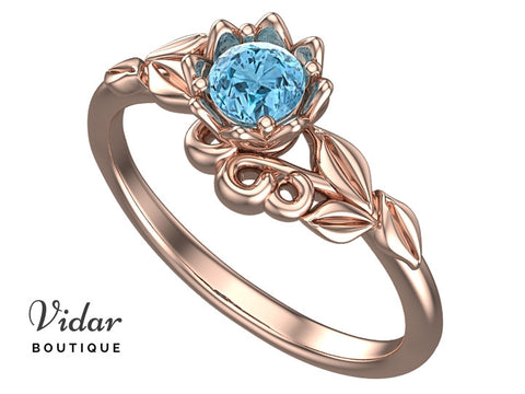 Unique Flower Aquamarine Engagement Ring