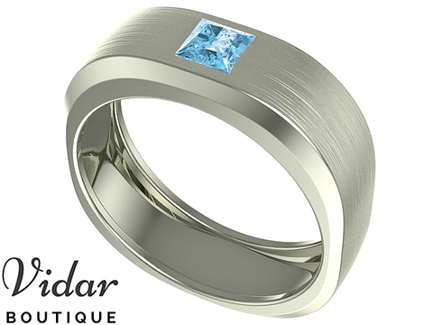 Unique Mens Aquamarine Wedding Ring