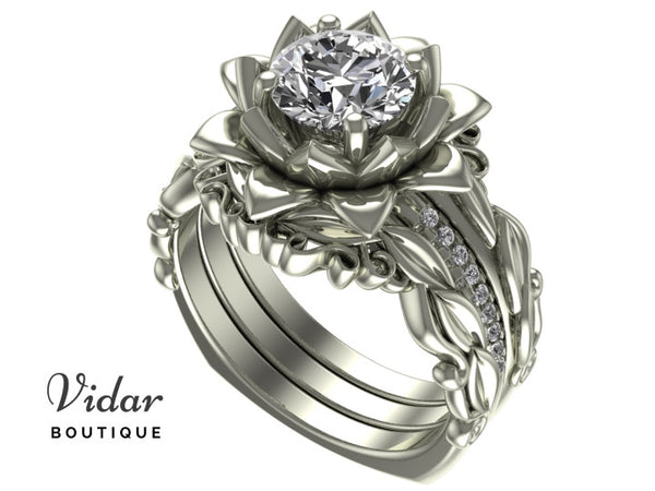 Unique Flower Diamond Wedding Ring Set