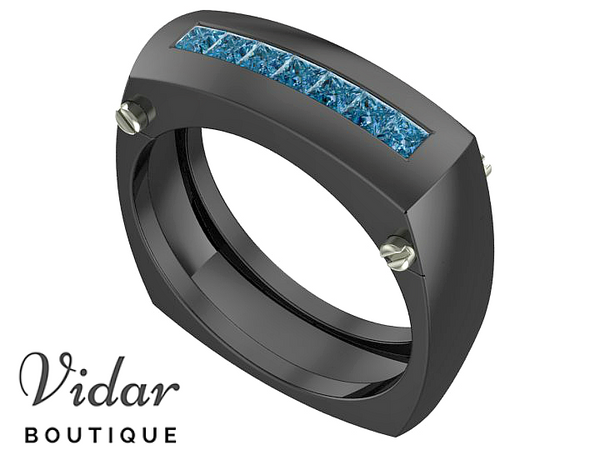 Blue Diamonds Mens Two Tone Gold Wedding Ring