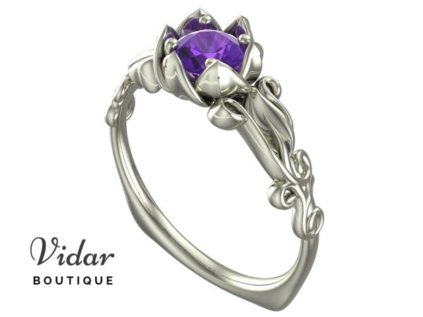 Unique Flower Amethyst Engagement Ring