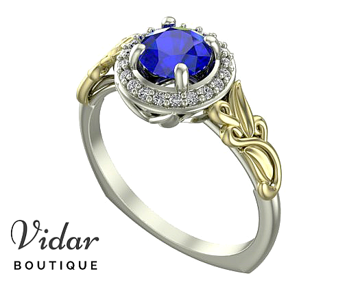Unique Flower Sapphire Halo Engagement Ring