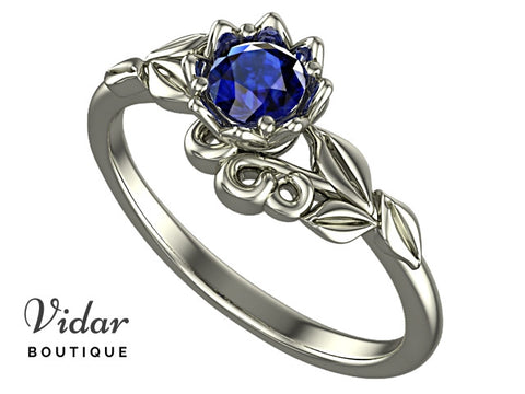 Floral Blue Sapphire Engagement Ring