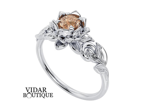 Lotus Flower Engagement Ring With Morganite