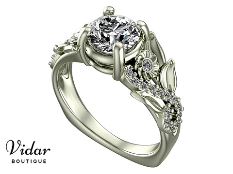Flower White Gold Engagement Ring