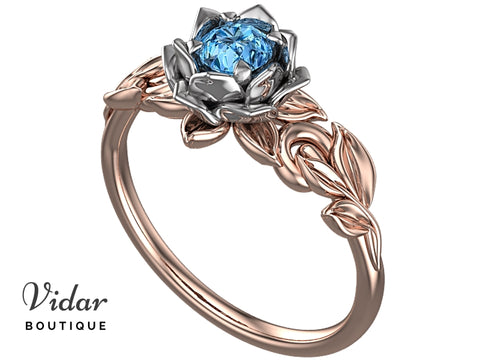 Lotus Flower Blue Topaz Engagement Ring