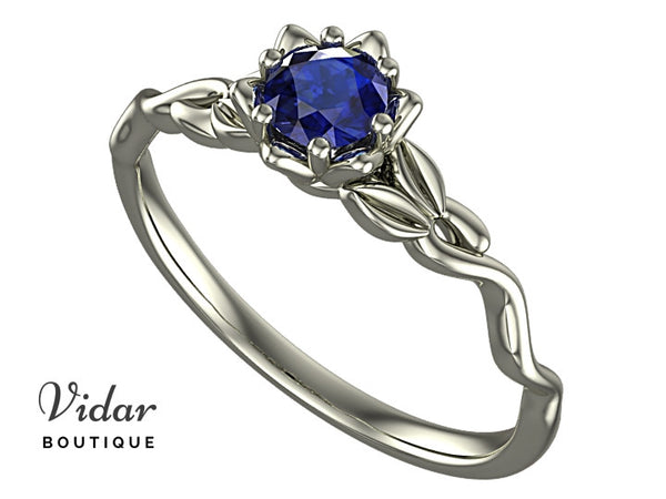 Unique Floral Sapphire Engagement Ring
