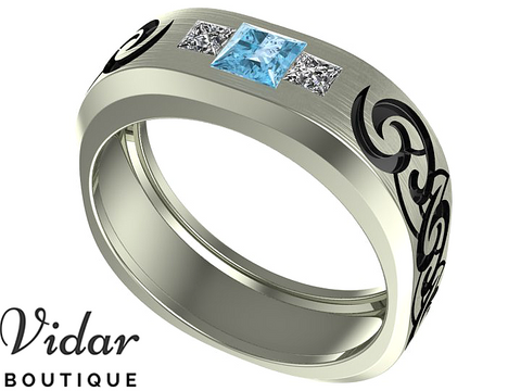 Unique Tribal Mens Aquamarine Wedding Ring