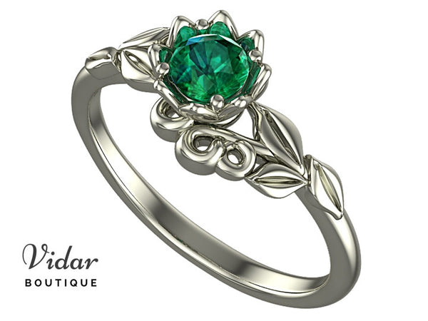 Unique Floral Emerald Engagement Ring