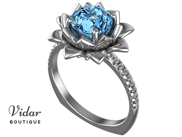 Floral Blue Topaz Engagement Ring With Leaves